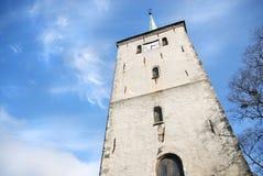 Torretta di chiesa a Bergen, Norvegia Fotografia Stock