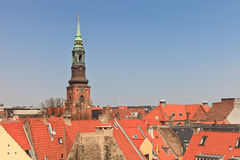 Torretta di chiesa di Copenhaghen Immagini Stock
