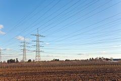 Torretta di elettricità nel bello paesaggio Fotografie Stock