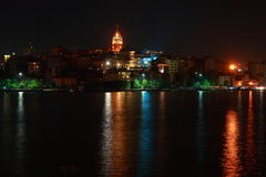 Torretta di Galata nella notte Fotografie Stock