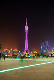 Torretta di Guangzhou nella città di notte Fotografia Stock Libera da Diritti