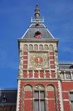 Torretta di orologio centrale della stazione di Amsterdam, Amsterdam Fotografie Stock