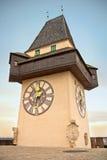Torretta di orologio di Graz Immagini Stock Libere da Diritti