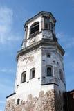 Torretta di orologio medioevale in Vyborg Fotografie Stock