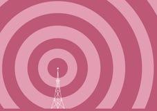 Torretta di radiodiffusione con le onde della trasmissione Fotografia Stock