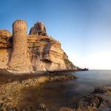 Torretta e fortificazione sull'isola di Capraia Fotografia Stock Libera da Diritti