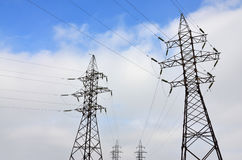 Torretta elettrica ad alta tensione Pilone della trasmissione di elettricità Immagini Stock Libere da Diritti