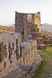 Torretta India della fortificazione di Kumbhalgar di incandescenza di sera Fotografia Stock