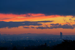 Torretta Manchester di Beetham di tramonto fotografia stock