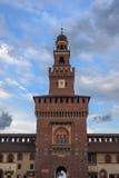 Torretta Milano del castello di Sforza Immagine Stock