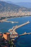 Torretta rossa in Alanya La Turchia Fotografie Stock