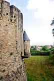 Torrette del castello di Carcassona immagine stock