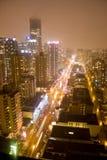 Torrette dell'orizzonte alla notte Fotografie Stock Libere da Diritti