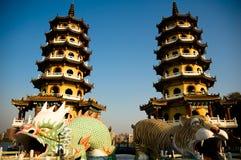 Torrette della tigre e del drago Fotografie Stock Libere da Diritti