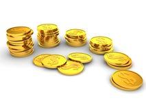 Torrette delle monete di oro. successo di finanze Fotografia Stock Libera da Diritti