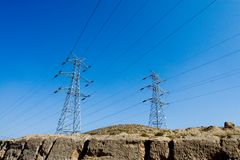 Torrette di elettricità immagine stock