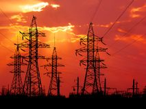 Torrette di energia. Fotografia Stock