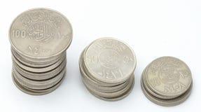 Torrette di valuta saudita delle monete Immagine Stock Libera da Diritti
