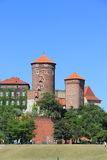 Torrette sul castello di Wawel, Cracovia Fotografia Stock