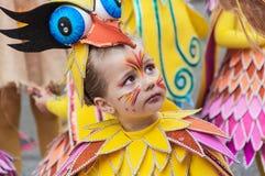 TORREVIEJA, AM 19. FEBRUAR: Karnevalsgruppen und kostümierte Charaktere Stockfotos