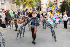 TORREVIEJA, FEBRUARY 19: Carnival groups and costumed characters. Carnival groups and costumed characters, parade through the streets of the city. FEBRUARY 19 Royalty Free Stock Photos