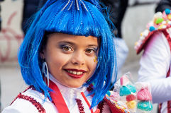 TORREVIEJA, FEBRUARY 19: Carnival groups and costumed characters. Portrait of kid at parade costumed characters,  through the streets of the city. FEBRUARY 19 Royalty Free Stock Photos