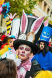 TORREVIEJA, FEBRUARY 19: Carnival groups and costumed characters. Portrait of kid at parade costumed characters,  through the streets of the city. FEBRUARY 19 Royalty Free Stock Images