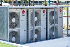 LG air conditioner outdoors stock images