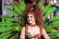 TORREVIEJA, SPANJE, 11,2018 FEBRUARI: De Groep en het kostuum van Carnaval Stock Fotografie