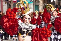 TORREVIEJA, SPANJE, 11,2018 FEBRUARI: De Groep en het kostuum van Carnaval Stock Foto's
