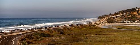 Torrey Pine在拉霍亚,加利福尼亚附近的国家海滩 库存照片