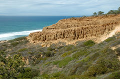 Torrey Pines View. Scenic view of the bluffs overlooking Torrey Pines State Reserve, San Diego, CA Royalty Free Stock Image