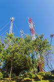 Torri alte di comunicazione e del telefono cellulare contro il fondo del cielo blu Alta torre di telecomunicazione sul fondo dell Immagine Stock Libera da Diritti