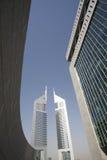 Torri degli emirati dei UAE Dubai dal centro finanziario di Dubai International Fotografia Stock Libera da Diritti