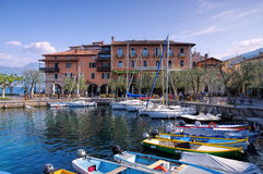 Torri del Benaco harbour on Lake Garda Royalty Free Stock Photography