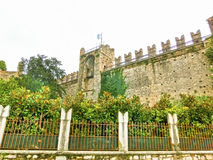 Torri del Benaco slott på sjön Garda i Italien Royaltyfri Bild