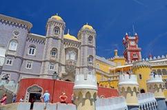 Torri del castello di Pena, Sintra, Portogallo Immagini Stock
