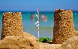 Torri del castello di sabbia Immagine Stock