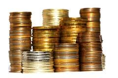 Torri dell'argento e dell'oro fatte dalle monete di oro Fotografia Stock