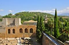 Torri della cittadella di Alcazaba, Alhambra fotografia stock libera da diritti