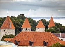Torri della fortificazione, vista superiore tallinn L'Estonia immagine stock