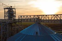 Torri di impresa dell'essiccazione dei cereali al giorno soleggiato Fotografia Stock