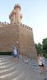 Torri di pietra del castello del palazzo di Almudaina Fotografie Stock Libere da Diritti