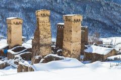 Torri di Svaneti in villaggio Immagini Stock Libere da Diritti
