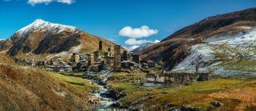 Torri di Svanetian in Ushguli, Svanetia superiore, Georgia Punti di riferimento georgiani Immagine Stock Libera da Diritti