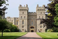 Torri di Windsor Castle a Londra, Gran Bretagna Immagine Stock Libera da Diritti