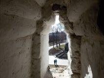 Torri ed elementi architettonici del Cremlino antico sui precedenti della vista superiore della città, situata sulle banche di immagine stock