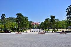 Torii gate of Heian Shrine, Kyoto Japan. Stock Image