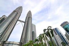 Torri gemelle di Petronas in Kuala Lumpur Fotografie Stock Libere da Diritti