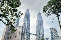 Torri gemelle di Petronas in Kuala Lumpur, Malesia Fotografia Stock